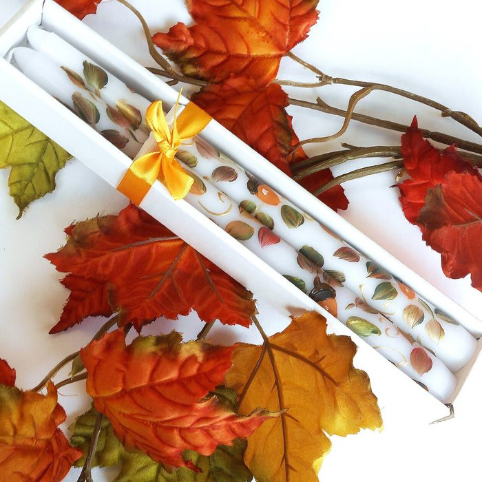 Hand Painted Acorn Fall Taper Candles Autumn Thanksgiving Decor FREE SHIPPING